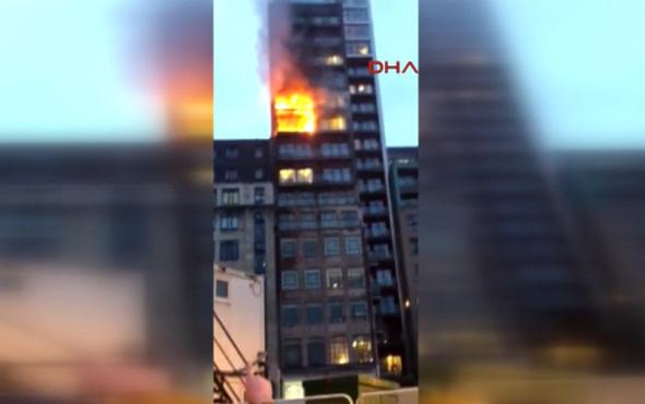 İngiltere'de 12 katlı binada yangın