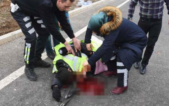 Korkuç anlar polis memuru yere yığıldı...