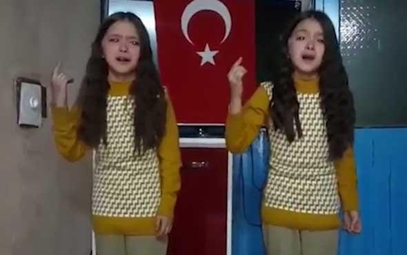 İkiz kardeşler İstiklal Marşı'nı gözyaşları içinde okudu