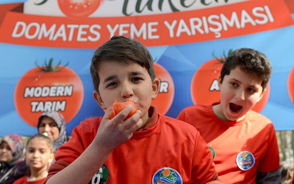 3 dakikada 13,5 kilogram domates yediler