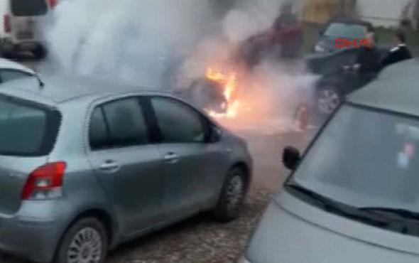 Kontağı Çevirince Otomobil Alev Aldı