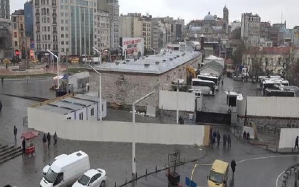 Taksim'e cami için şantiye kuruldu ilk görüntüler