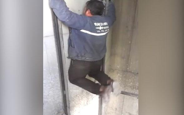Asansör boşluğunda ölümüne barfiks çekti!