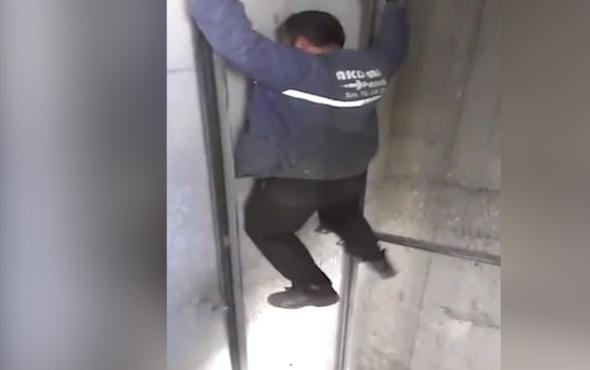 Asansör boşluğunda yapılan ölümüne gösteri!