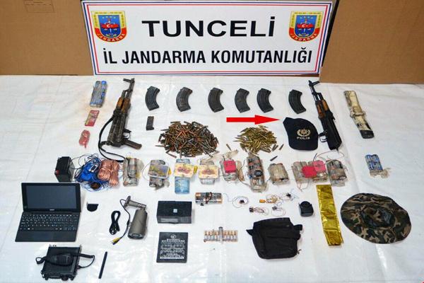 Tunceli'de PKK sığınağında polis kıyafeti ve güvenlik kamerası