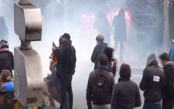 Paris'te polis şiddetine karşı olaylı protesto!