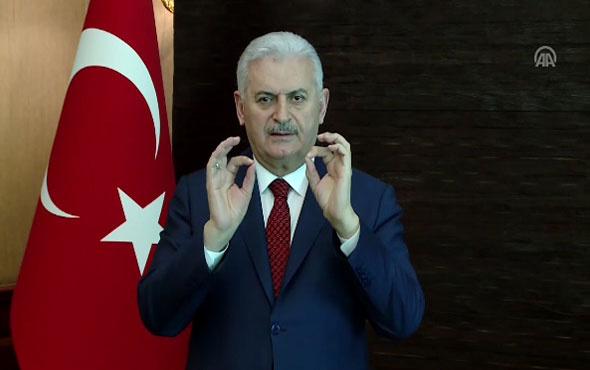Başbakan Yıldırım'dan işaret diliyle 'evet'e davet