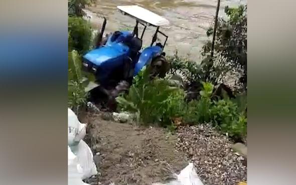 Traktörü nehre böyle uçtu!