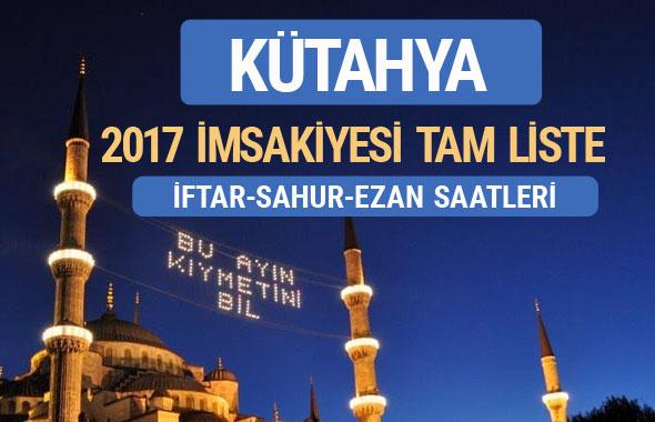 2017 İmsakiye Kütahya iftar saatleri sahur ezan vakti