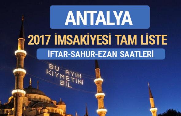 2017 İmsakiye Antalya iftar saatleri sahur ezan vakti