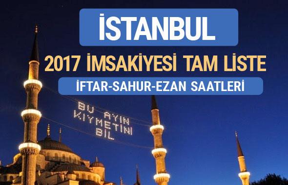 İstanbul iftar saatleri sahur ezan vakti -2017 İmsakiye