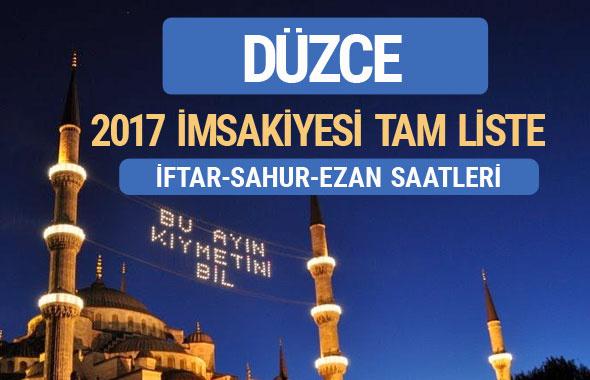 2017 İmsakiye Düzce iftar saatleri sahur ezan vakti