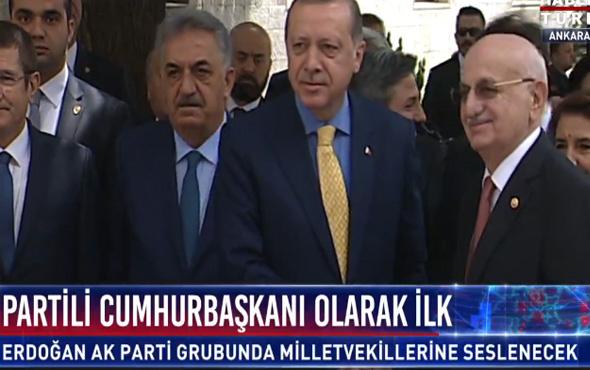 Erdoğan partili Cumhurbaşkanı olarak ilk kez Meclis'te