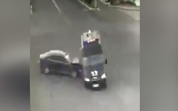 Polis aracını deviren kaza böyle kaydedildi