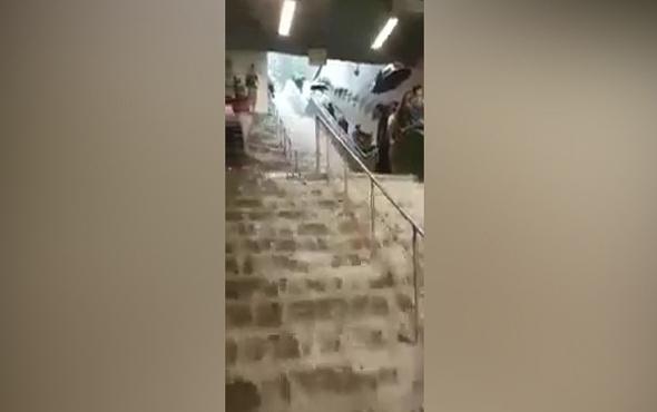 Gayrettepe metrosu şelaleye döndü olay görüntüler