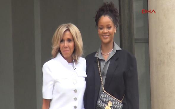 Ünlü şarkıcı Rihanna, Elysee Sarayı'nda