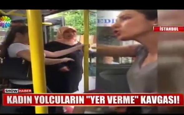 Kadın yolcuların minibüsteki yer verme kavgası kamerada