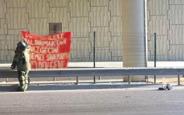 Okmeydanı Kavşağı'nda şüpheli pankart alarmı