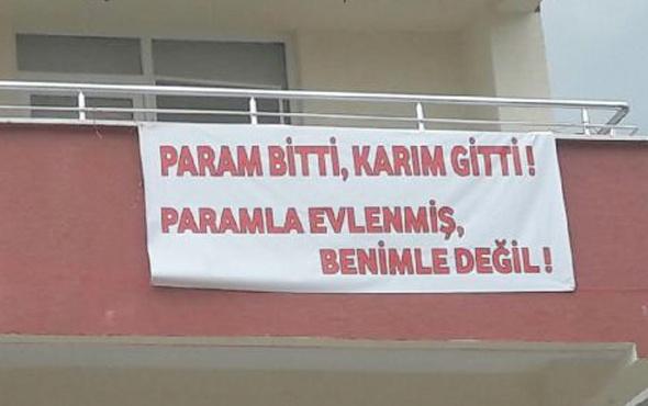 FETÖ'den ihraç edilen polisten eşine pankartlı sitem