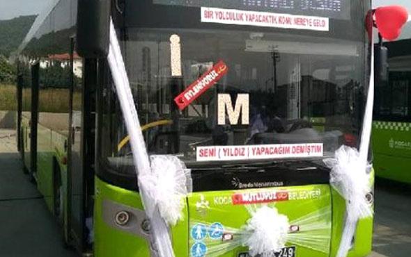 Belediye otobüsünü gelin arabası yaptılar!