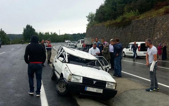Zonguldak'ta otomobil takla attı: 3 yaralı