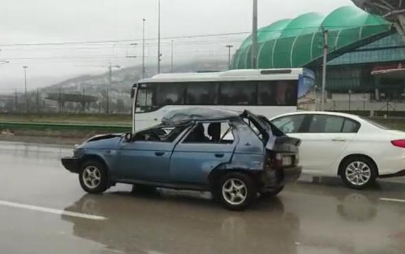 Demir yığını araçla trafikte gezdi