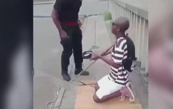 Dilenciye yaptığı hareket tepki çekti