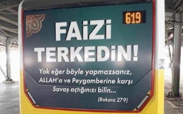 Özel halk otobüsünde 'Faizi terkedin' reklamı