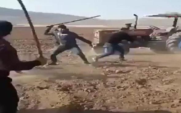 Taşlı sopalı ve silahlı arazi kavgası kamerada! Yaralılar var