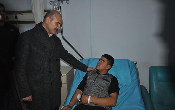 Bakan Soylu patlamada yaralanan askerleri ziyaret etti