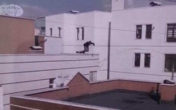 Korkunç görüntü: Damdan dama atlamada feci son!