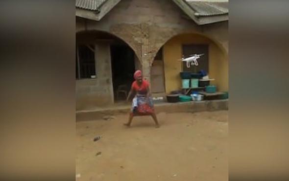 Drone gören Afrikalı kadın adeta çıldırdı
