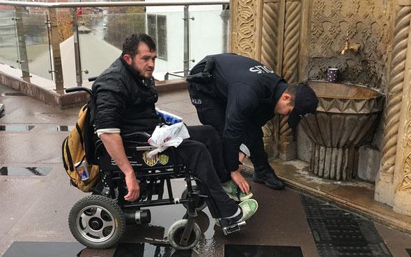 Bu polis alkışlanır engelli vatandaş zorlanınca...