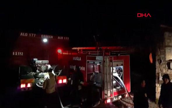 Datça'da pansiyonda çıkan yangın paniğe neden oldu