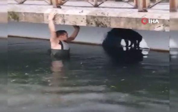 Suya düşen köpeği kurtarmak için buz gibi suya girdi