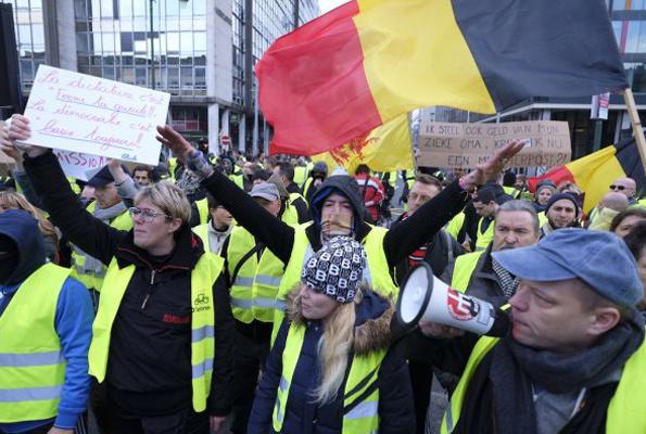 Sarı Yelekliler Belçika'da da gözaltına alındı