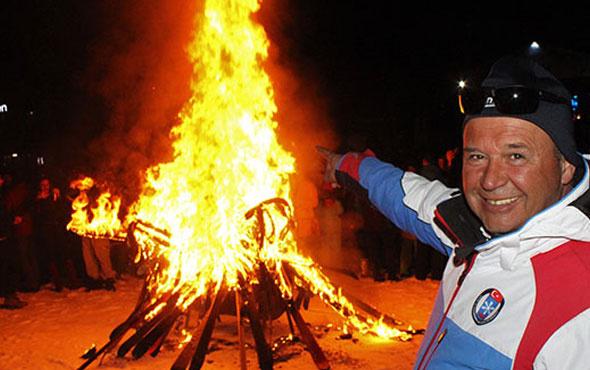 40 bin liralık kayak takımlarını yaktılar