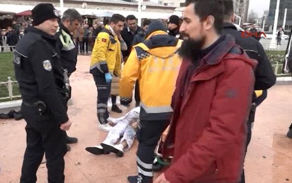 Taksim Meydanı'nda kendini yaktı