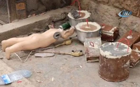 Cansız çocuk mankene el yapımı patlayıcı düzeneği kurmuşlar