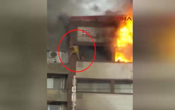 İzmir'deki yangında kadının düşme görüntüsü