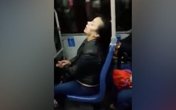 Otobüste uyuklayan kadın böyle düştü