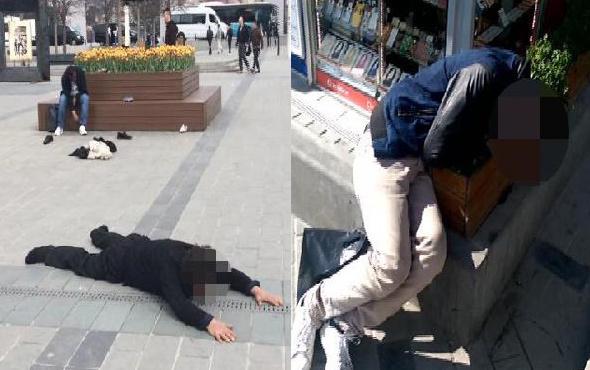 Taksim'in göbeğinden yürek burkan bonzai manzaraları...