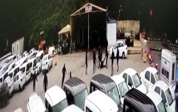 Mafya kamerada: İstanbul'da otoparkı böyle basmışlar!