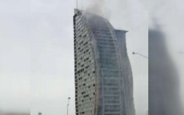 Bakü'de Trump Towers'da yangın çıktı o anlar böyle görüntülendi