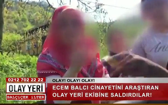 Skandal görüntüler! Balçiçek İlter'in ekibine saldırdılar