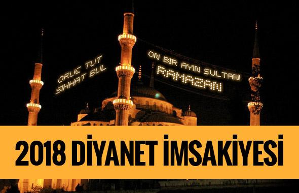 İmsakiye 2018 Diyanet takvimi-Tüm illerin imsak sahur iftar vakti