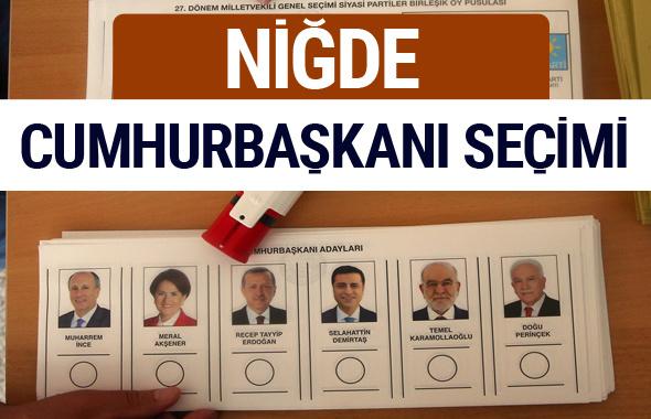 Niğde Cumhurbaşkanları oy oranları YSK Sandık sonuçları