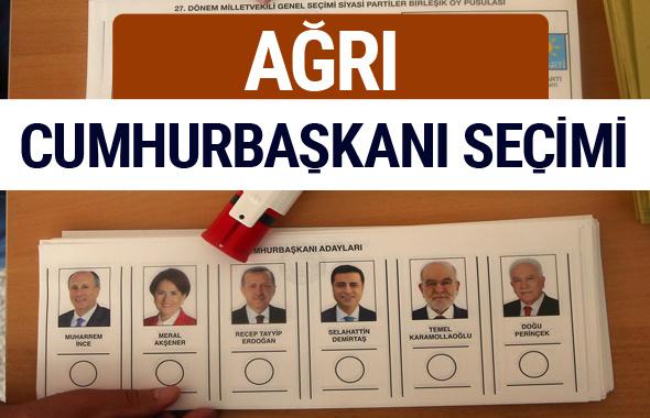 Ağrı Cumhurbaşkanları oy oranları YSK Sandık sonuçları