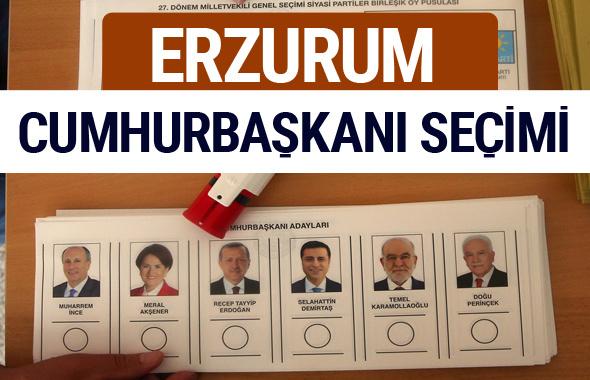 Erzurum Cumhurbaşkanları oy oranları YSK Sandık sonuçları