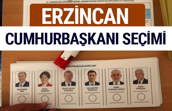Erzincan Cumhurbaşkanları oy oranları YSK Sandık sonuçları
